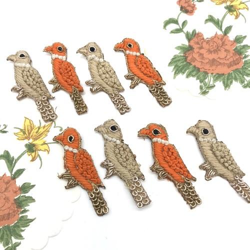 小さな鳥型ワッペン1P☆ハンドメイド刺繍