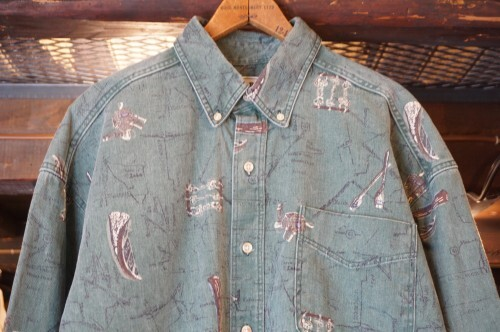 80's L.L.Bean U.S. Route 61 printed cotton Shirt