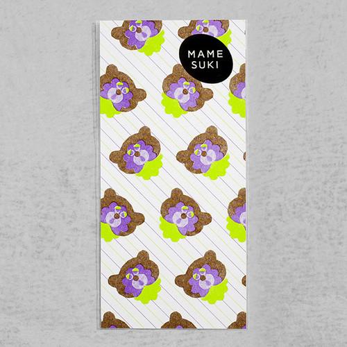 リソグラフ 一筆箋[ねぼけたベイビー Bear]Brown × Lime Green × violet