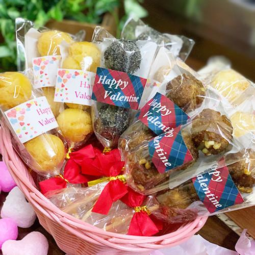 送料無料 バレンタインデー 限定 プチギフト お菓子 結トリオ 12本入 サーターアンダギー ばらまき シール