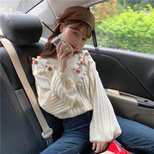 【トップス】スウィート刺繍プリントカーディガン長袖ニットセーター