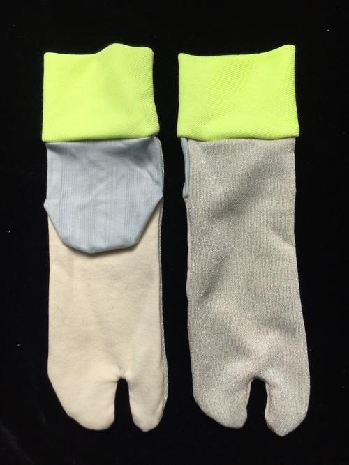 足袋靴下 シルバーラメ・蛍光リブ