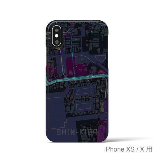 【新木場】地図柄iPhoneケース(バックカバータイプ・ブラック)