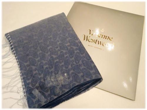 【 Vivienne Westwood 】  - Italy -           ヴィヴィアンウェストウッド   ストール       麻混紡 × ロゴデザイン