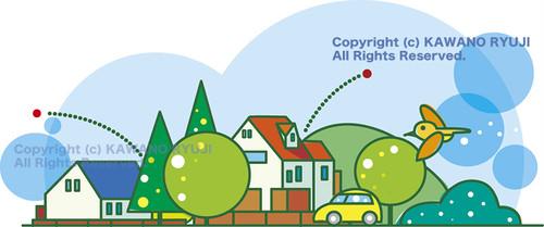 シンプルな家の街並み_ai(ベクターデータ)