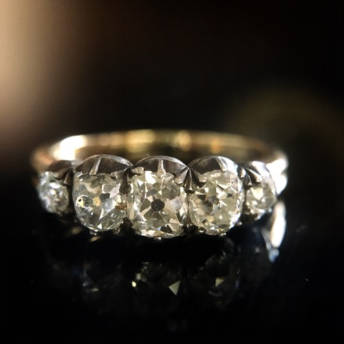 Georgian Old mine -cut Diamond Half Hoop Ring