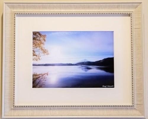 静寂の湖 富士山写真<A4サイズ>オリジナル額