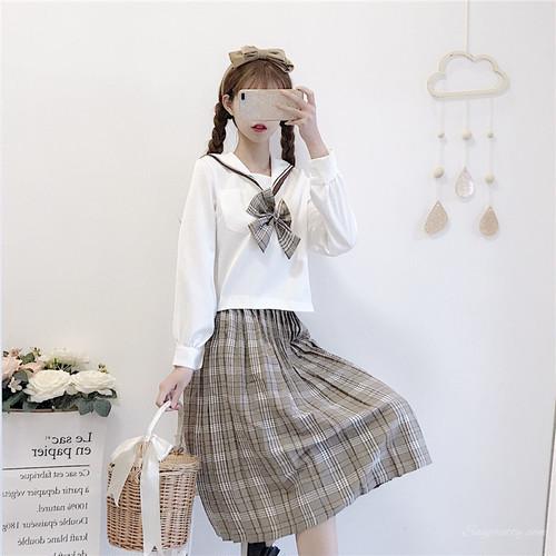 【セットアップ】日系キュートセーラーカラーファッションシャツ+チェック柄フィッシュテールスカート二点セット