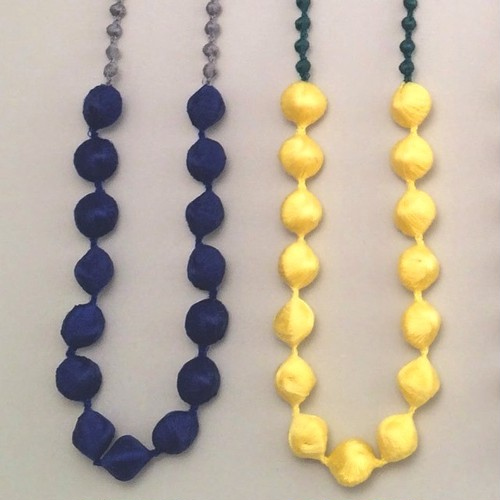 刺繍ネックレス Sphere Colour-Combi blue/yellow