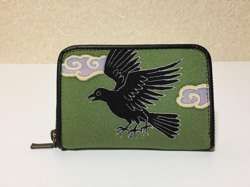 ラウンド財布「八咫烏」カーキ色