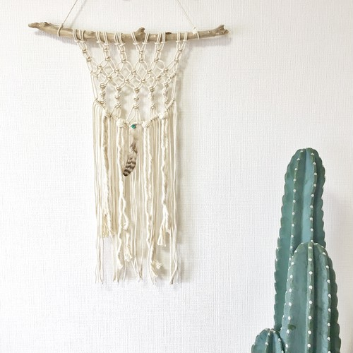 macrame tapestry - turquoise × feather -