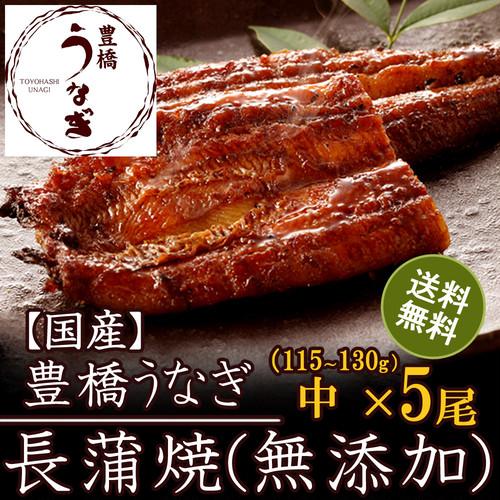 国産 豊橋うなぎ蒲焼き 長蒲焼き(無添加)115-130g×5尾 たれ・山椒付