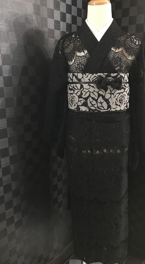 黒のレース着物【単衣】