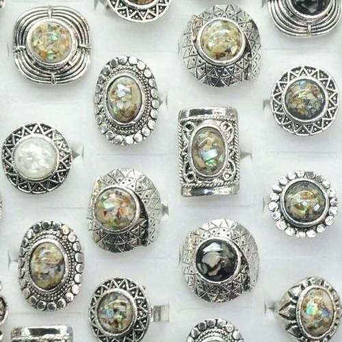 アワビ貝加工 リング 鮑の指輪 フリーサイズ
