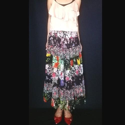 SK-027 70s 花柄ロングスカート