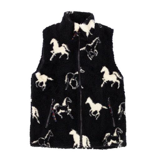 FARFIELD ORIGINAL 馬柄 フリース ベスト 〈Black〉