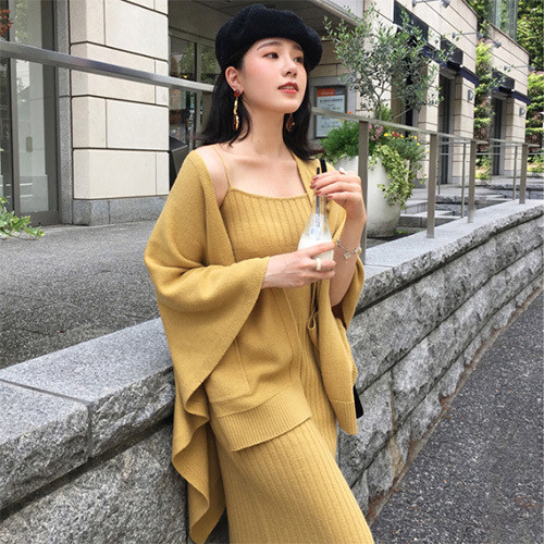 【セットアップ】優雅ファッション無地カーディガン+ワンピース2点セットアップ23430483