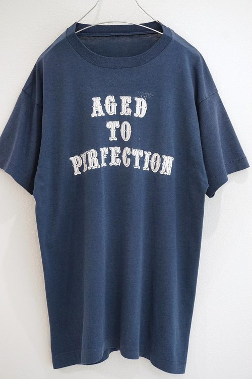 1980's AGED TO PERFECTION プリントTシャツ 紺×白 実寸(M〜L位)