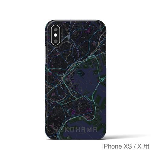 【横浜】地図柄iPhoneケース(バックカバータイプ・ブラック)