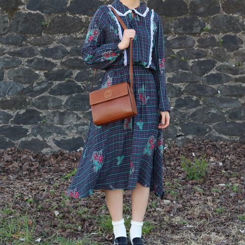 FRENCH VINTAGE CHECK PATTERNED LONG SLEEVE ONE PIECE/フランス古着チェック柄長袖ワンピース