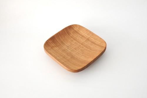 山口和宏 胡桃の木の角皿 S