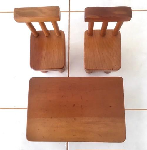 イスと角テーブル(北海道カツラ材)中古リペア品 ビンテージ