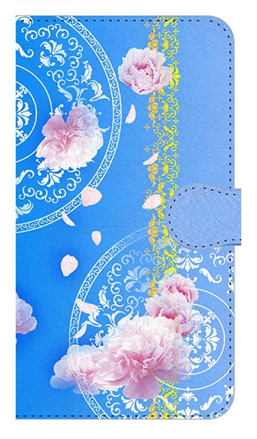 【鏡付き Mサイズ】Peony Dream 芍薬の夢 スカイブルー 手帳型スマホケース