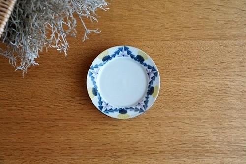 砥部焼/4寸リム付皿/タンポポとレンゲ/皐月窯