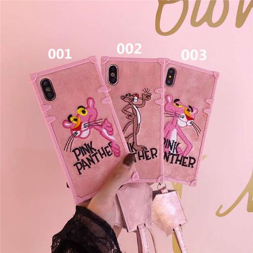 オリジナル ピンクパンサー柄 アップリケ iphoneXケース かっこいい iphone8ケース 個性 iphone7plusカバー スクエア アイフォン6ケース 大人気