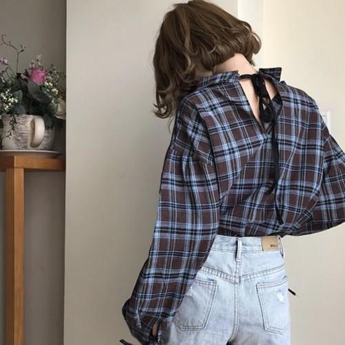 【お取り寄せ商品】back ribbon casual shirt 6261