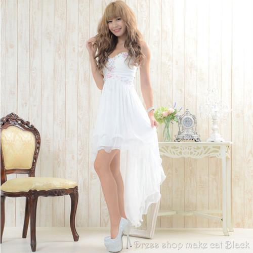 (フリーサイズ) ロングドレス胸元ビジューテールカット  ¥7,142- (税込) キャバドレス ドレス パーティー 0337