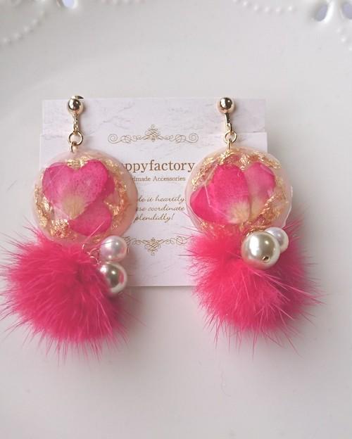 berryなハートミンクイヤリング