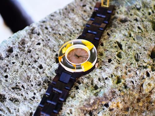 押花向日葵がはっきりわかる銘木黒檀の腕時計