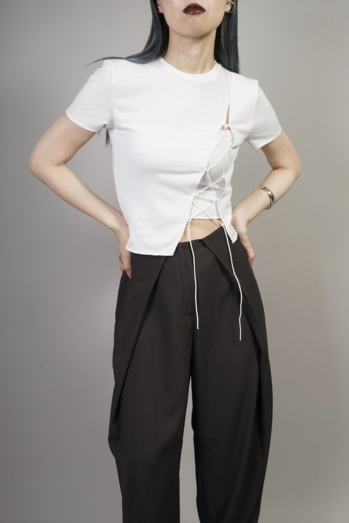 SLIT LACE UP TOPS  (WHITE) 2106-11-68