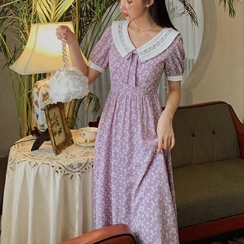 襟 ボウタイ レース 上品 花柄 ワンピース パフスリーブ お嬢様 ハイウエスト 大人 半袖 お呼ばれ デート お出かけ 女子会 パーティ ドレス