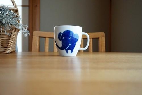 砥部焼/マグカップ(大)/青いぞうさん/きよし窯