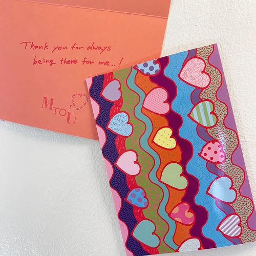 【Heart pattern series】Vol.1 二つ折りグリーティングカード(封筒付き)