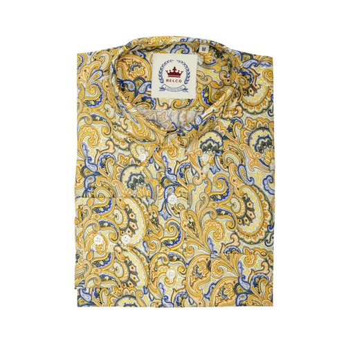 Relco London | Button Down Paisley Shirt - Mustard