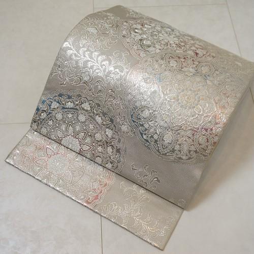 唐織り 華紋 銀糸 袋帯 正絹 シルバー グレー 237