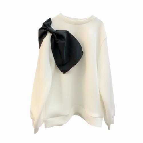 RIMI&Co.SELECT ビッグリボン ネオプレーンビッグサイズスウェットトップス   3Color <Big Bow Sweatshirt>