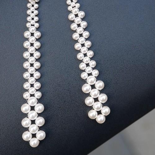 braid  pearl long earrings