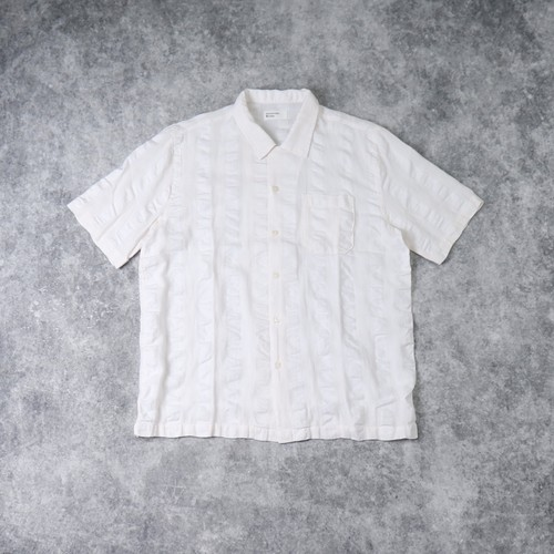 "【Universal Works.】 ROAD SHIRT  ""WHITE""   Self Stripe ユニバーサルワークス"