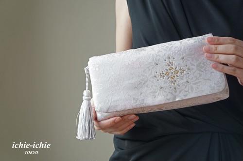 結婚式やパーティー、日常使いにも。2way帯クラッチバッグ& ハンドバック 絹帯 リメイク ラベンダー