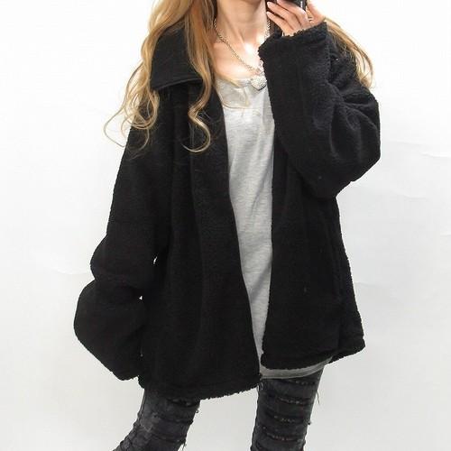 ボアジャケット プードルコート BIG襟 ブラック
