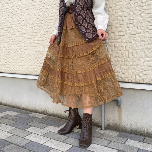 (LOOK) flower lace tiered skirt