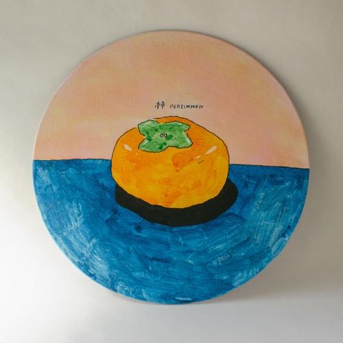[Art works]丸キャンバス作品「柿」