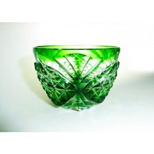 薩摩切子 盃 「剣而松笠紋」緑 skmt-1704