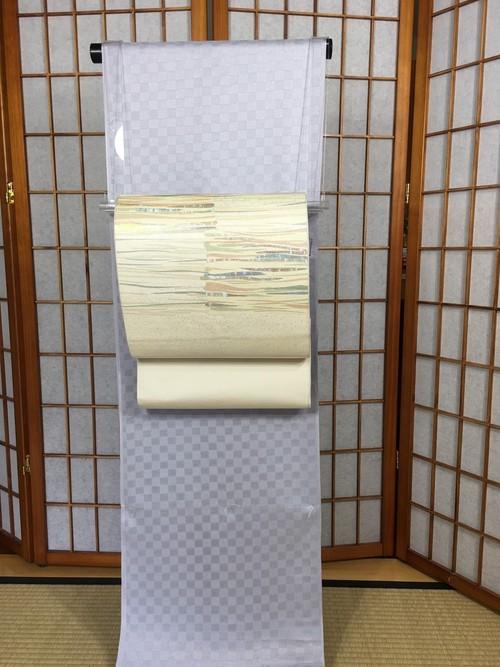 川島織物 市松段螺鈿袋帯