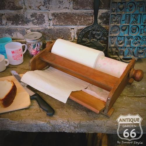 フランスヴィンテージ 木製 キッチンペーパーホルダー ペーパーカッター ヴィンテージ家具 アンティーク【F-067-025】