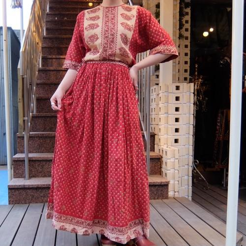 Vintage indian cotton dress/ヴィンテージ インド綿ドレス